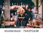 vintage portrait of bartender...   Shutterstock . vector #764291638