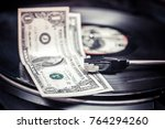 vinyl record and money | Shutterstock . vector #764294260