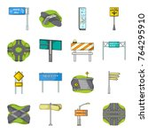 road junctions and signs and... | Shutterstock .eps vector #764295910