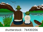 fishing lessons with father and ... | Shutterstock .eps vector #76430206