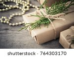 christmas composition.... | Shutterstock . vector #764303170