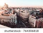 metropolis building in gran via.... | Shutterstock . vector #764306818