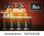 bar counter in pub or night... | Shutterstock .eps vector #764310238