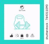 kettlebell and barbell line icon | Shutterstock .eps vector #764311090