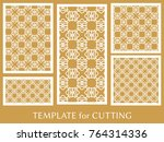 decorative panels set for laser ... | Shutterstock .eps vector #764314336
