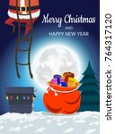 santa claus on the roof... | Shutterstock .eps vector #764317120