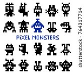 retro pixel space monsters and... | Shutterstock .eps vector #764317714