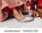 people pour coconut milk on... | Shutterstock . vector #764321728