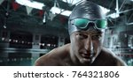 sport background. swimmer with... | Shutterstock . vector #764321806