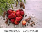apples on heart plate with... | Shutterstock . vector #764324560