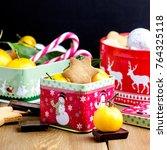 christmas homemade gingerbread... | Shutterstock . vector #764325118