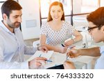 group of happy young business... | Shutterstock . vector #764333320