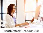 portrait of businesswoman... | Shutterstock . vector #764334310