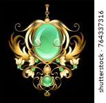 gold brooch with oval... | Shutterstock .eps vector #764337316