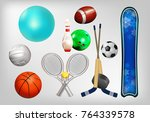 sports equipment  set the ball  ... | Shutterstock .eps vector #764339578