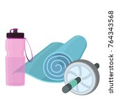set of fitness accessories ... | Shutterstock .eps vector #764343568