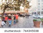 blurred people walking ... | Shutterstock . vector #764345038