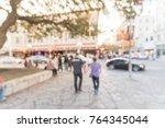 blurred people walking ... | Shutterstock . vector #764345044