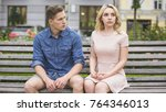 man and woman breaking up on... | Shutterstock . vector #764346013