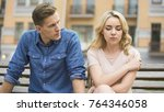 angry boyfriend looking at sad... | Shutterstock . vector #764346058