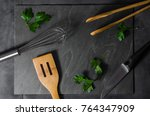 kitchen utensils layout with... | Shutterstock . vector #764347909