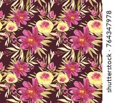 seamless summer pattern with... | Shutterstock . vector #764347978