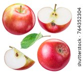 set of ripe red apples and... | Shutterstock . vector #764352304