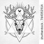 mystical image of the  skull of ... | Shutterstock .eps vector #764352514