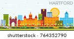 hartford skyline with color... | Shutterstock .eps vector #764352790
