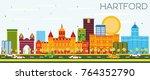 hartford skyline with color... | Shutterstock .eps vector #764352790