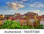 view of colorful townhouses and ... | Shutterstock . vector #764357284