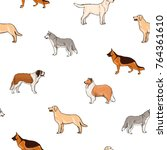 Seamless Pattern With Dogs Of...