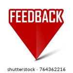 red banner feedback | Shutterstock .eps vector #764362216