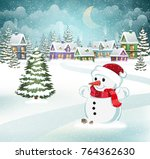 winter village background with... | Shutterstock .eps vector #764362630