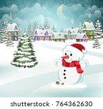 winter village background with...   Shutterstock .eps vector #764362630