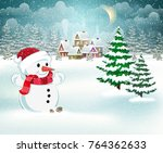 winter village background with... | Shutterstock .eps vector #764362633
