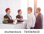 airline passengers checking in... | Shutterstock . vector #764364610