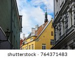 antique building view in old... | Shutterstock . vector #764371483