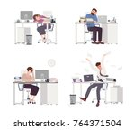 collection of depressed people... | Shutterstock .eps vector #764371504