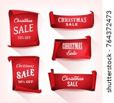 christmas sale on parchment... | Shutterstock .eps vector #764372473