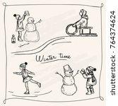 vector illustration. winter pen ... | Shutterstock .eps vector #764374624