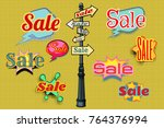sales background pole sign. pop ... | Shutterstock . vector #764376994