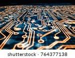 3d rendering. golden circuit... | Shutterstock . vector #764377138