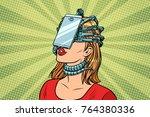 face id smartphone parasite ... | Shutterstock . vector #764380336