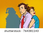 vintage couple man and woman... | Shutterstock . vector #764381143
