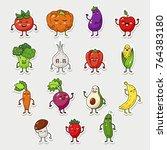 cartoon fruit and vegetable... | Shutterstock . vector #764383180