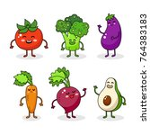 cartoon funny vegetable... | Shutterstock .eps vector #764383183