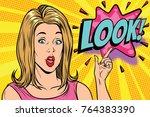 pop art kitsch woman look.... | Shutterstock . vector #764383390