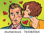beautiful woman kissing a man ... | Shutterstock . vector #764383564