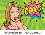 oops pop art kitsch woman.... | Shutterstock . vector #764383960